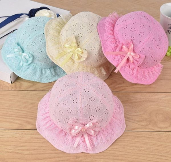 Mesh Baby Girl Cap Embroidered Toddler Kids Beach Cap Summer Cute Princess Baby Hat With Bow Flower Bucket Hat Cap