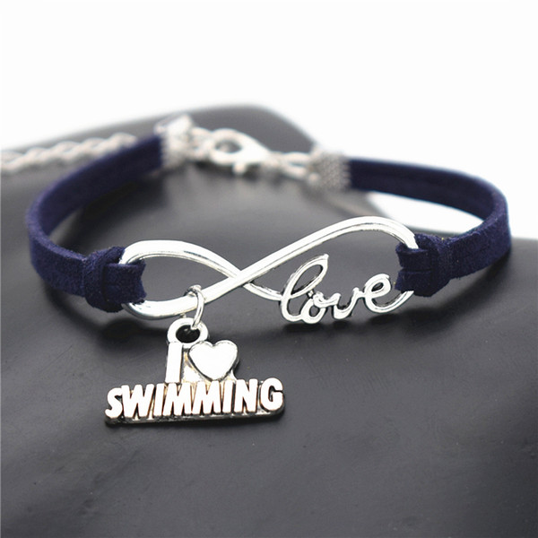 New Stylish Punk Infinity Love I Heart Swimming Pendant Bracelet Dark Navy Leather Suede Cuff Bangles For Christmas New Year 10 Color Choose