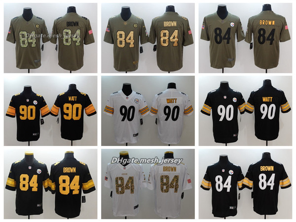 low priced 8e9a3 37b60 2019 2018 Men Pittsburgh Jersey Steelers 90 T.J. Watt 84 Antonio Brown  Color Rush Football Stitching Jerseys Embroidery Logo From Cpu01, $21.32 |  ...