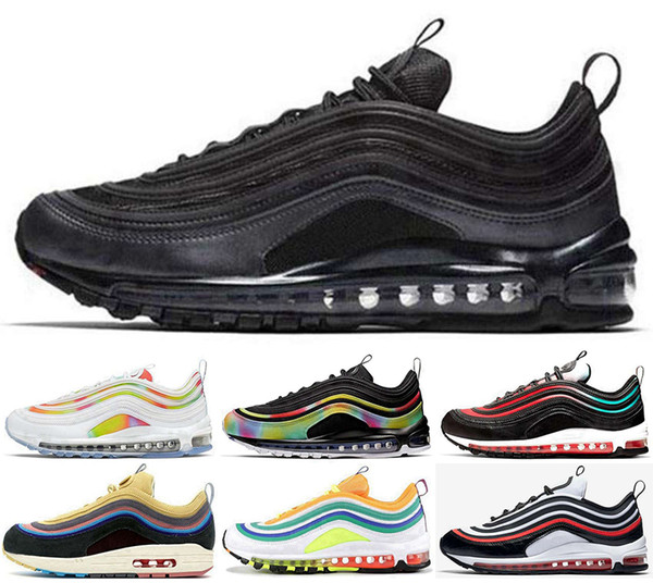 top popular 97 Sneakers 98 air mens Casual Running Trainers Men Zapatos 97s Athletic Stock x Scarpe shoes Chaussures de max Women Loafers Size US 12 46 2019