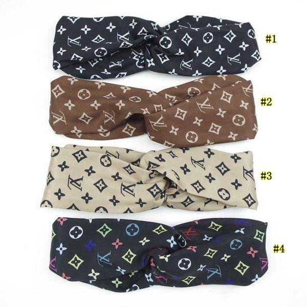 Fascia in seta imitazione con elastico da donna con stampa a croce cintura Fashion Designer Headwraps 7 colori MMA2062