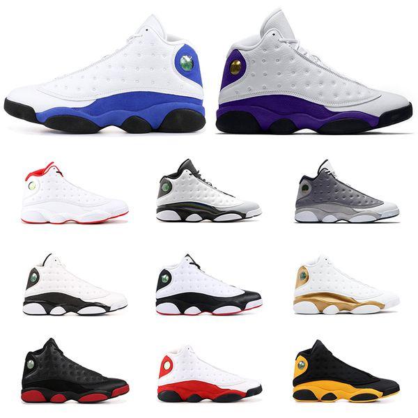 Hot Sale AirRetrojordan Basketball shoes 13s COURT PURPLE GREY TOE FLINT BLACK CAT Cap and gown Men sports sneaker size 7-13