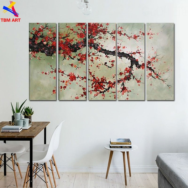 The Plum Blossom Canvas Painting Handmade Modern Abstract Oil Painting on Canvas Chinese Flower Oil Painting No Framed JYJLV204