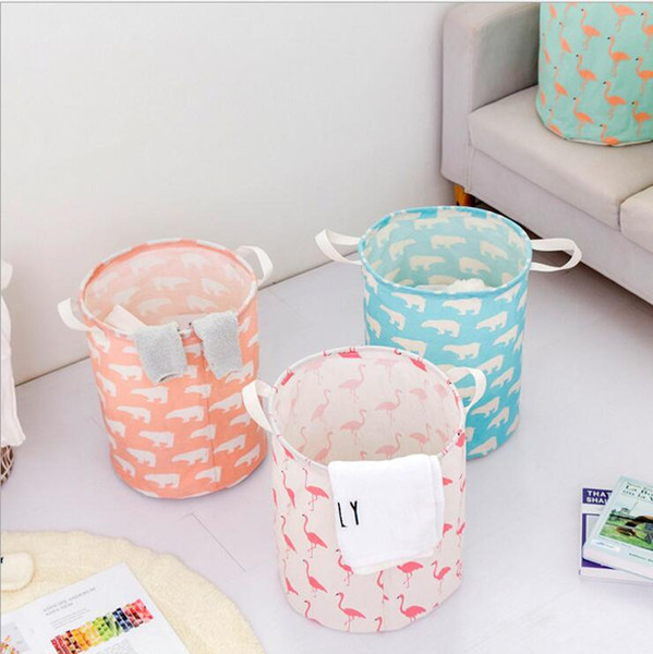 top popular Foldable Laundry Storage Basket Flamingo Bear Printed Clothes Storage Bag Waterproof Home Sundries Storage Barrel Kids Toys Organizer DYP410 2021