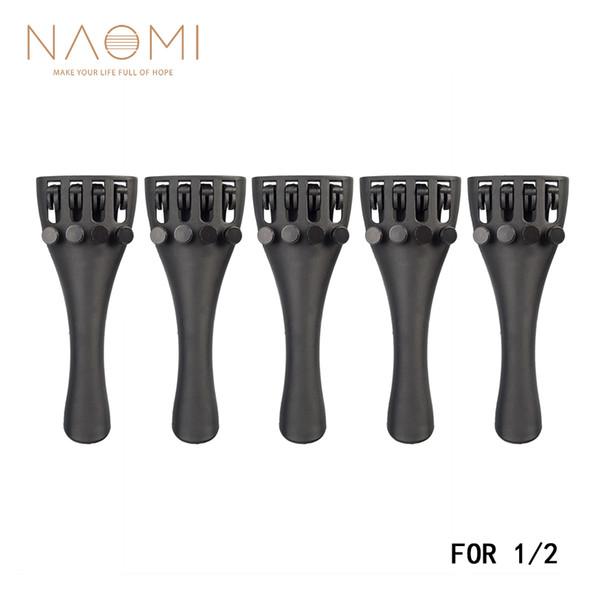 NAOMI 1/2 Violin Tailpiece 5PCS Violin Carbon Fiber Tailpiece W/4 Tuners For 1/2 Violin Parts & Accessories New