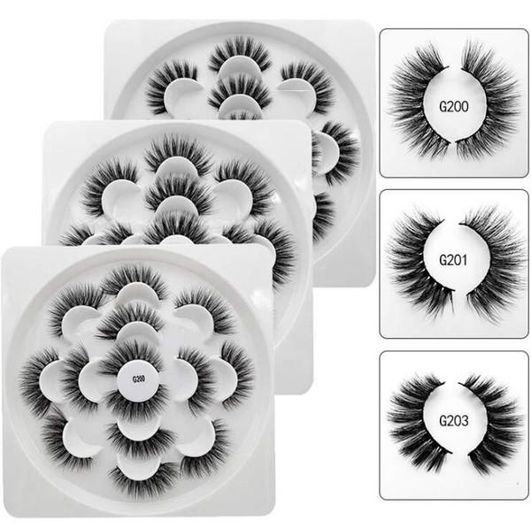 Las pestañas falsas naturales de las pestañas del visión 3D pestañas largas del ojo Faux falso ojo pestañas herramienta de maquillaje 7 Pairs / set DHL envío gratis