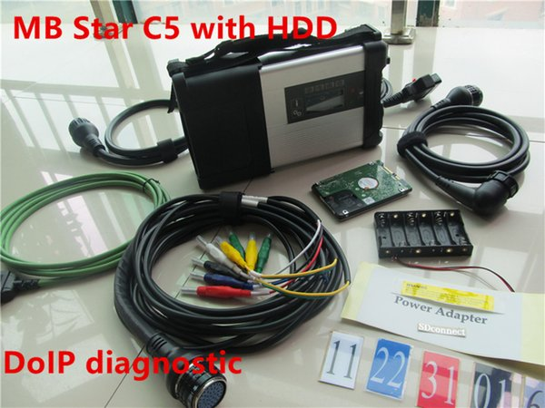 Best Quality MB Star SD C5 V2019.5 DoIP Xen try Connect C5 SD Connect Wifi Diagnosis Kit With HDD fit in most laptops
