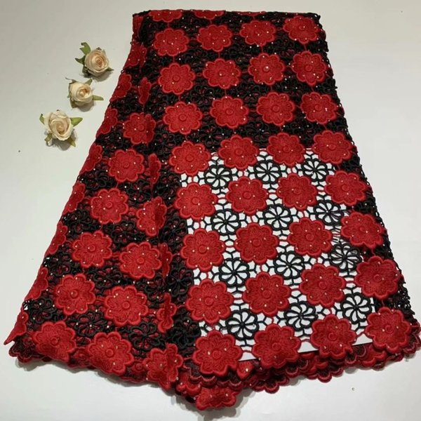TSY1112 2019 Hot sale African Guipure Water Soluble Cord Lace Fabric In Red Color 5 Yard/Lot For Making Clothes!