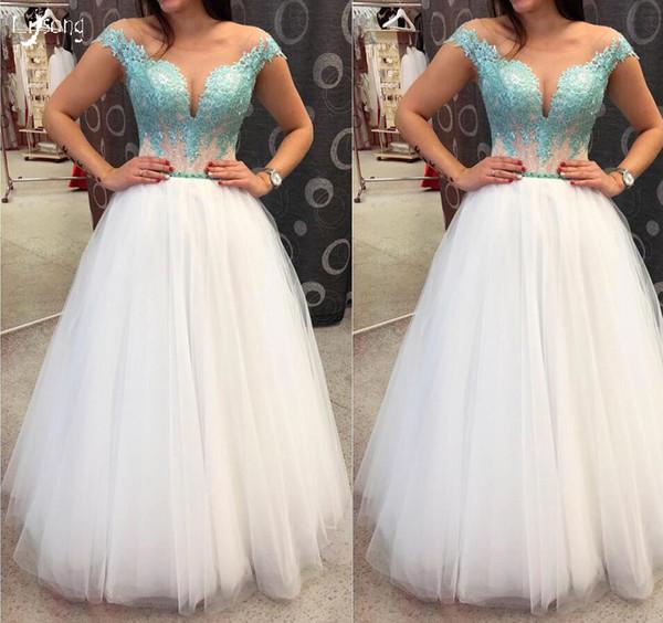 Vestidos De Casamento Moda Tulle Prom Vestido Prom Meninas Evento Vestido Do Dia De Formatura Vestido Elegante Noite Até O Chão Lace Scoop Prom