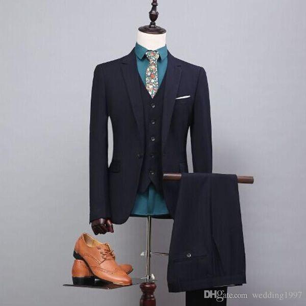 Black Business Formal Homens Ternos Entalhado Lapela De Três Peças Custom Made Noivo Do Casamento Smoking 2019 (Jaqueta + Calça + Colete)