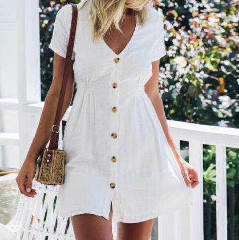 2019 women Summer new simple pure color V neck trim single row button high waist dress women's skirt large code