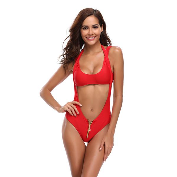 Nuevas mujeres Cremallera Bikini Mujeres Traje de baño Cintura alta Recortar Traje de baño Sólido Rojo Traje de baño S-XL Chica Backless Halter Bikini Set