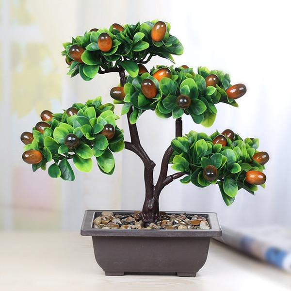Orange Fruit Tree Potted Bonsai Simulation Decoration Artificial Ornaments Artificial Plant Home Decor Craft Desktop TV Decor