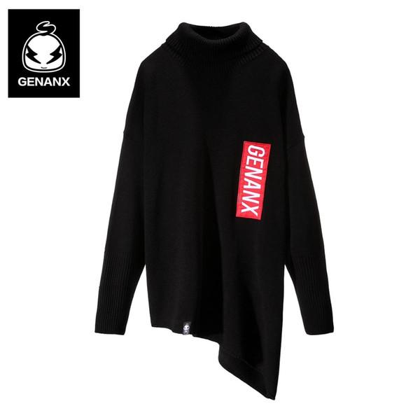 Marca GENANX Semplice maglione invernale con pullover ultra-loose design a collo alto caldo abbigliamento scuola campus maglioni