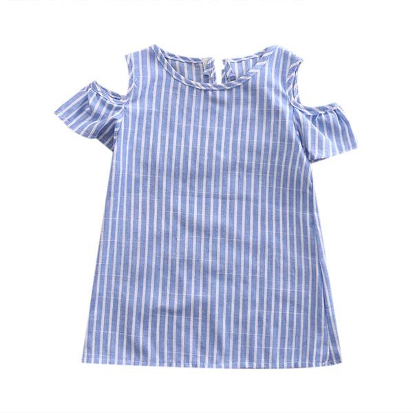 Новая мода девочек в вертикальную полоску платье повседневная хлопок летнее платье солнца Новый дизайн с плеча новорожденных девочек летняя пачка платье