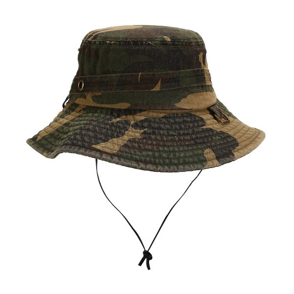 New European and American water-washed old fisherman's cap summer outdoor camouflage pure cotton tourist mountaineering hat men and women