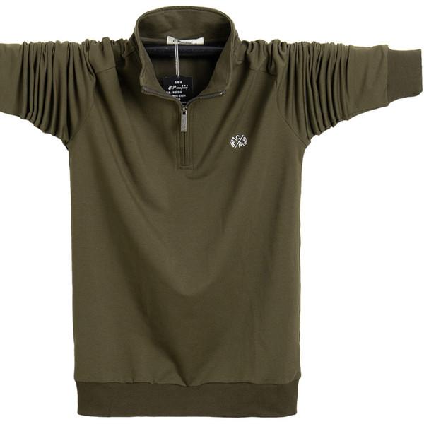 Sport Courir couleur pure Loisirs T-shirt manches longues Homme Zipper Mouvement Nutty Fat engrais pour augmenter le code sur les vêtements âgés Automne