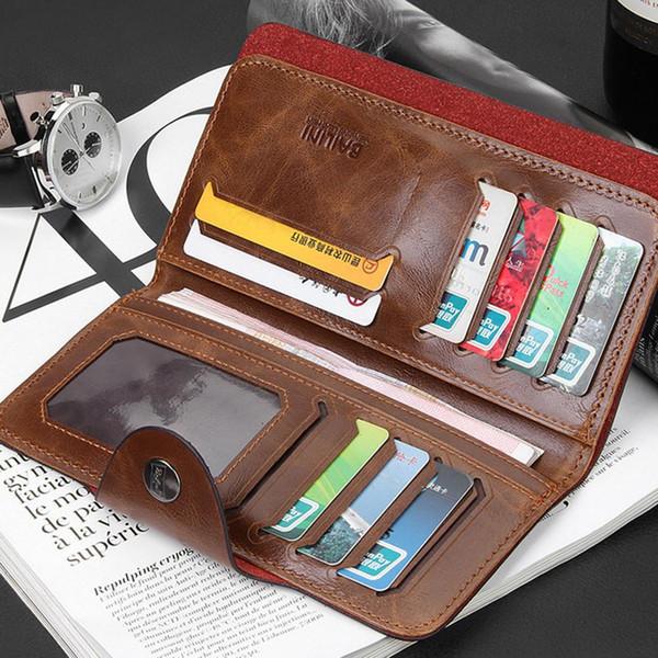 Men Wallets PU Leather Wallet Trifold Card Holder Retro Handbag Purses and Wallets for Men Wallet Men