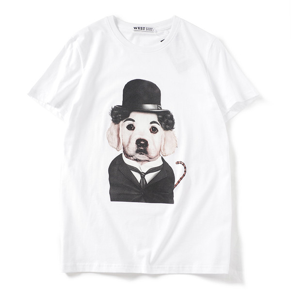2019 latest HOT best Quality Cute Puppy Printing Fashion show from Milan Summer clothes Short sleeved Fashion Trend JOKER T-SHIRTS TOPS