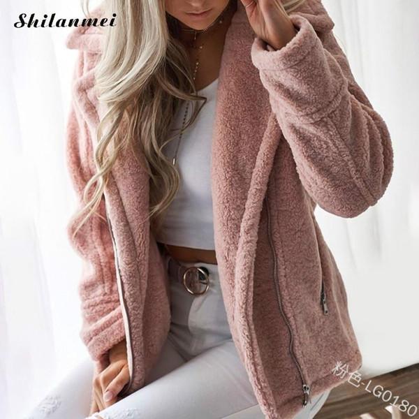 Elegante Faux Fur Coat Mulheres 2018 Novo Outono Inverno Quente Macio Casaco De Pele Com Zíper Feminino Sobretudo De Pelúcia Com Bolso Casuais Outwear