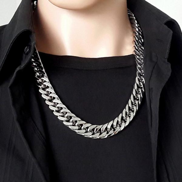 Collana in oro da uomo in argento 14mm con catena a forma di cuore, collana in oro a forma di cuore, bracciale in oro e argento