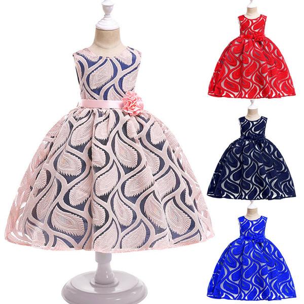 Lace Jaquard Kids Dress Sleeveless Princess Girls Dress Fashion Flower Girl Dress Children Prom Evening Dresses