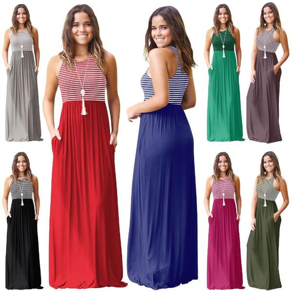 Maxi abito senza maniche a righe 8 colori Canotta donna Boho Summer Long Beach Sundress OOA6704