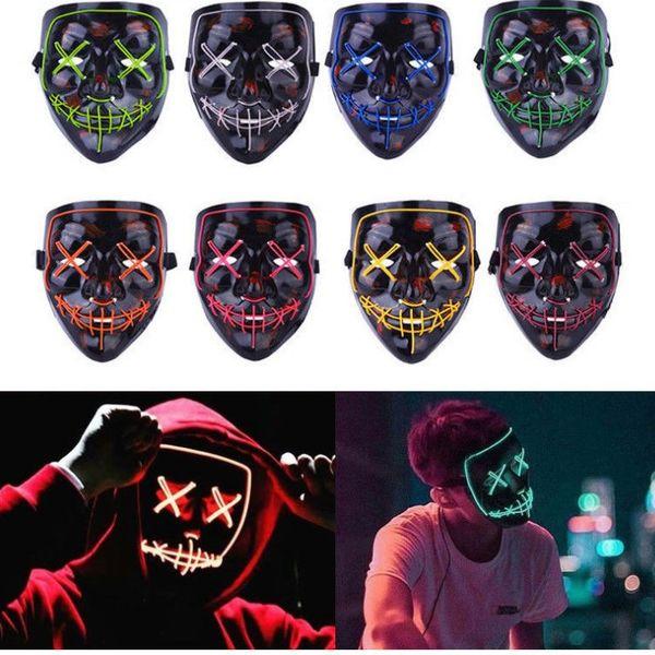 2020 hot Halloween mask LED haunted house ghost horror mask shuffle dance cold light party masks skull mask faceT2I5037
