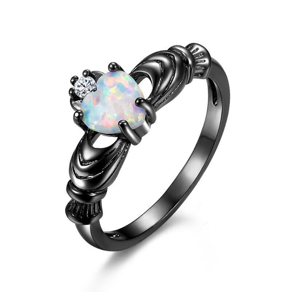 New alloy Rings for Girls Heart-shaped Opal Black and White Finger Ring Women Wedding Jewelry Free Shipping