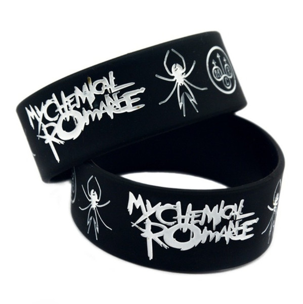 Wholesale 100 Black My Chemical Romance rock band Silicone Rubber Wristband bracelet music lover jewelry Christmas gift jewelry Bracelet