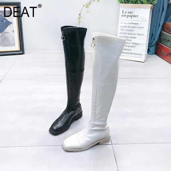 [DEAT] 2019 Kare Toe Ön Fermuar Basit Pu Deri Kadife Ayakkabı Kadınlar Uzun Tüp Boots Yeni Sonbahar Kış Moda Tide 10F064