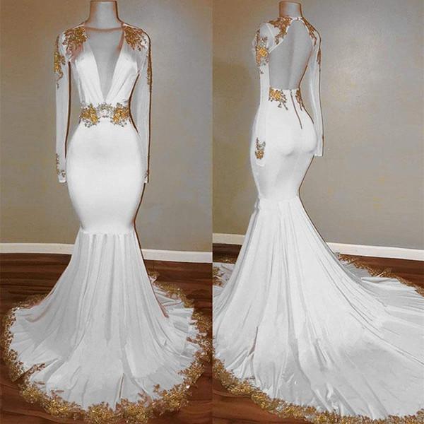2019 robes de bal dos nu nouveau design sexy col en V manches longues en dentelle appliques, plus la taille robe de soirée