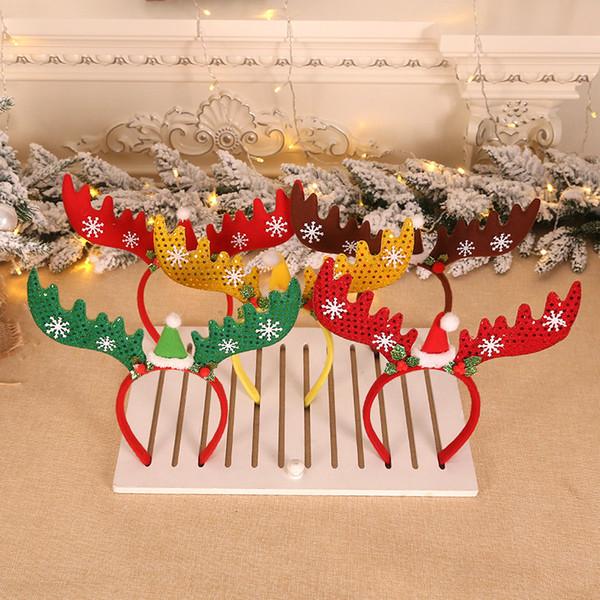 рождественские украшения для дома Xmas блестки глава кнопка оголовье лось головные уборы рождественские рога подарки детские игрушки boneca metoo