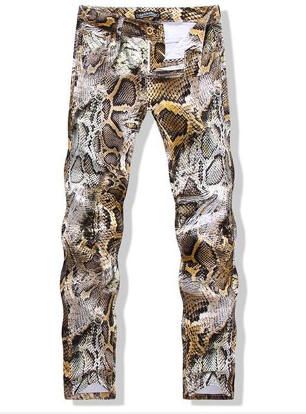 Herren Schlangenhaut Print Camoflague Original Designer Slim Hip Hop Rock Jeans Hosen Herren Skinny Jeans Streetwear 29-34