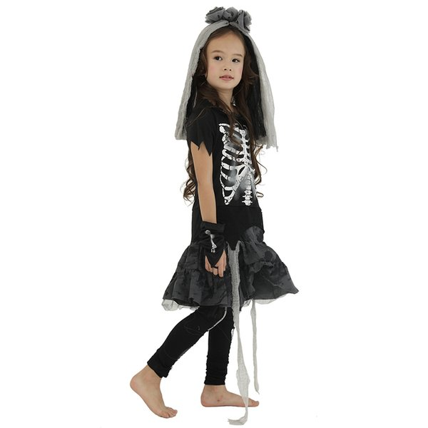 irls Costumes Eraspooky Halloween Costume For Kids Scary Skeleton Zombie Girls Dress Ghost Child Carnival Party Cosplay Headpiece Fancy D...
