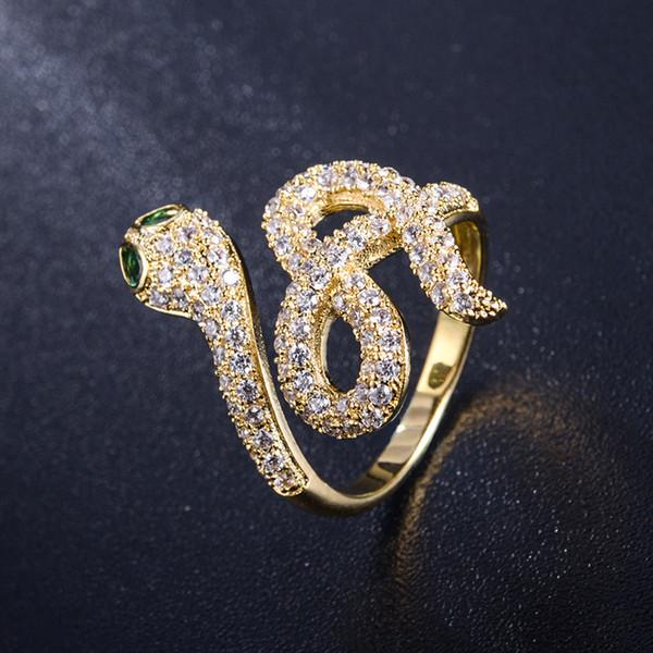 Rame Bling di buona qualità Anello di serpente di cristallo Anelli d'argento d'oro donne Hip Hop Anelli Anello di nozze per i regali dei monili dei ragazzi con la scatola