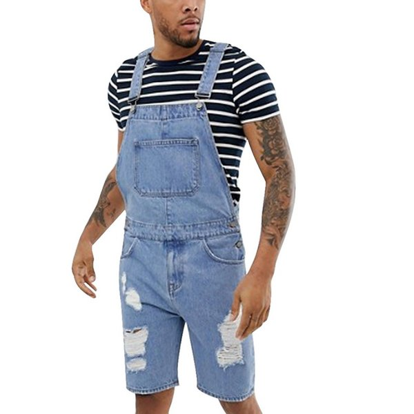 NIBESSER Summer Fashion Men Ripped Jeans Jumpsuits Shorts Street Style Distressed Denim Bib Overalls Mens Casual Suspender Pant
