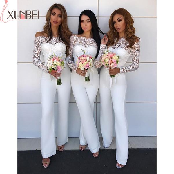 Vestido De Festa Elegant Lace Bridesmaid Jumpsuit 2019 Off The Shoulder Long Sleeves Long Pants Wedding Guest Jumpsuits
