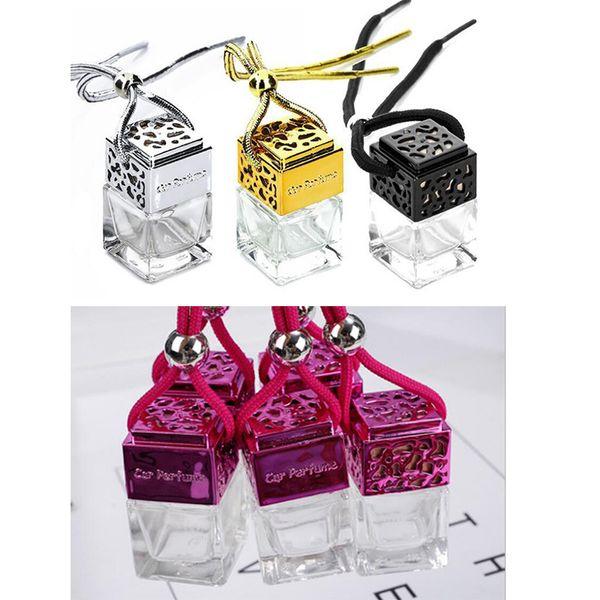 Würfel Auto Parfüm Flasche Auto hängen Parfüm Lufterfrischer für ätherische Öle Diffusor Duft leere Glasflasche 4 clors