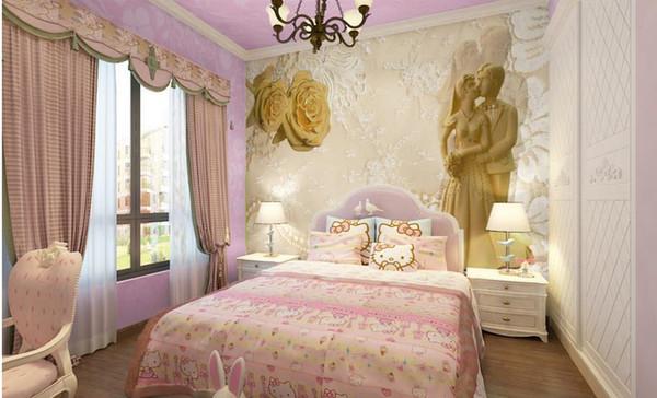 3d quarto papel de parede personalizado foto rosa mural imagem Original bonito dos desenhos animados s natal imagem 3d mural papel de parede quarto decoração pintura