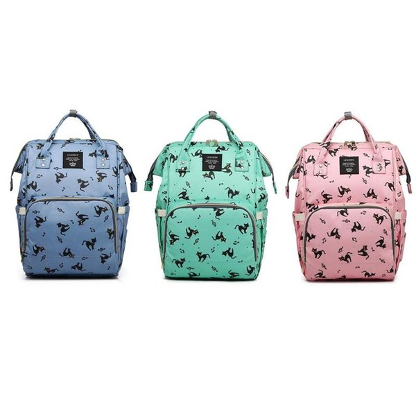 LEQUEEN Diaper Bag Cartoon Print Mummy Baby Care Nappy Bag 42CM Large Capacity Waterproof Business Backpack Travel