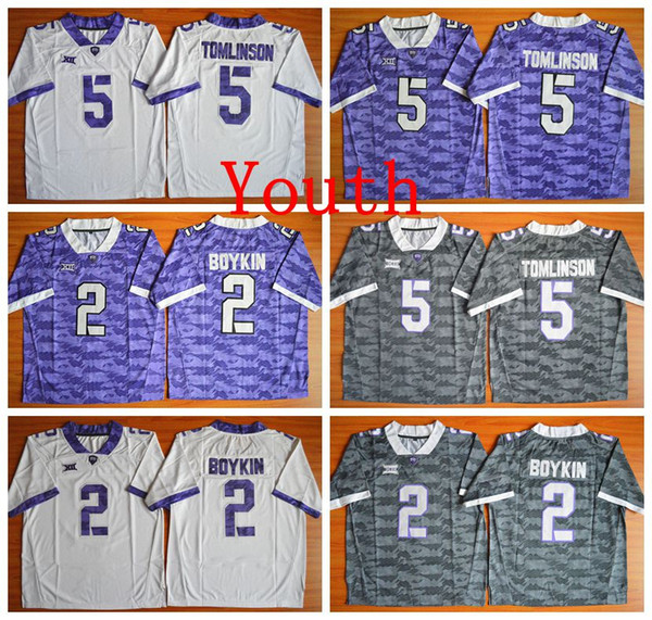 cheap for discount 22f96 5b71c 2019 NCAA Youth Kids TCU Horned Frogs 2 Trevone Boykin 5 LaDainian  Tomlinson Jersey Multi Color Custom Cheap Sport Jerseys Men Football Jersey  From ...