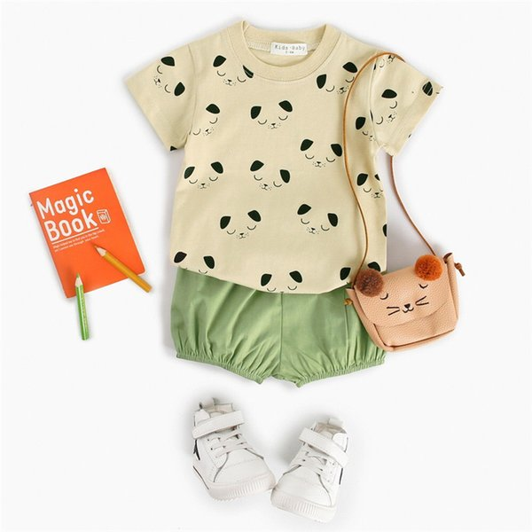 INS Little Boys Panda T-shirts + Pants 2pieces Suits Children Girls Clothes Set Summer Short Sleeve Thin Tees Blank Shorts Outfits