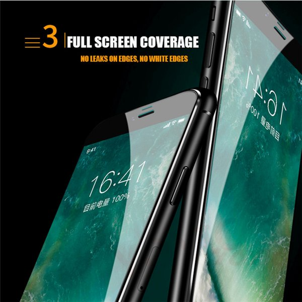 Tam Tutkal Kapak Kalite Temperli Cam 6D Komple Kapsama Ekran koruyucu Film iphone Xs Max Xr X 8 7 perakende paketi ile