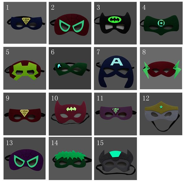 Glow-in-the-dark Cartoon Eye Mask Eye Shade for Kids Superman Batman Spiderman Masquerade Party Mask Child Newest Luminous Superhero Mask