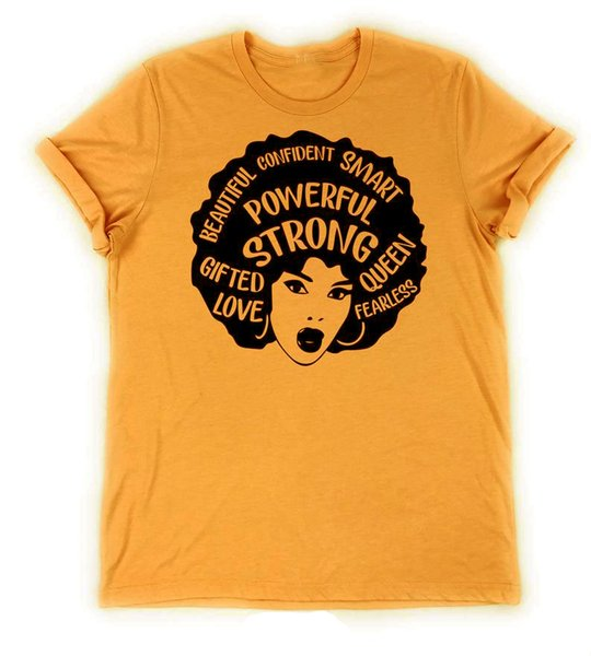 Powerful Afro Women Graphic T-Shirt Women Summer Powerful Strong Queen Slogan Grunge Girl Gift Quote Tops short sleeve tees