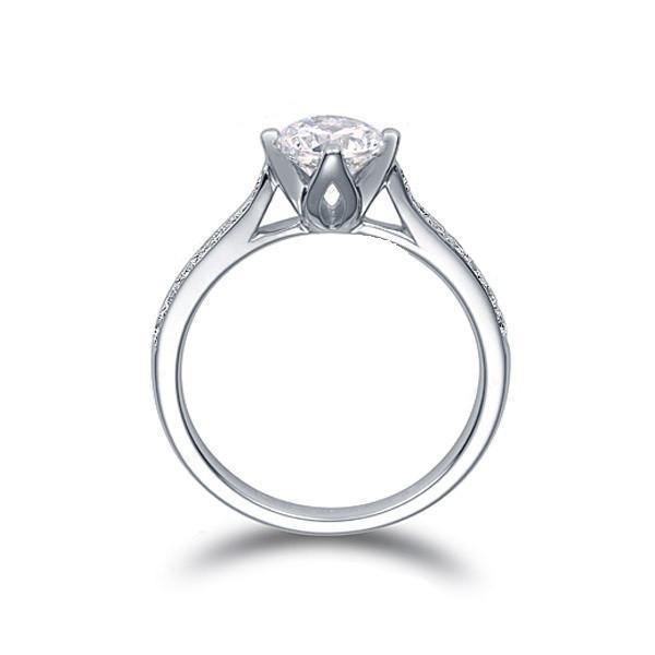 US GIA-Zertifikat 18 Karat Weißgold 1 Karat Moissanite Verlobungsringe für Frauen, Herzen und Pfeile, Diamantringe für Frauen