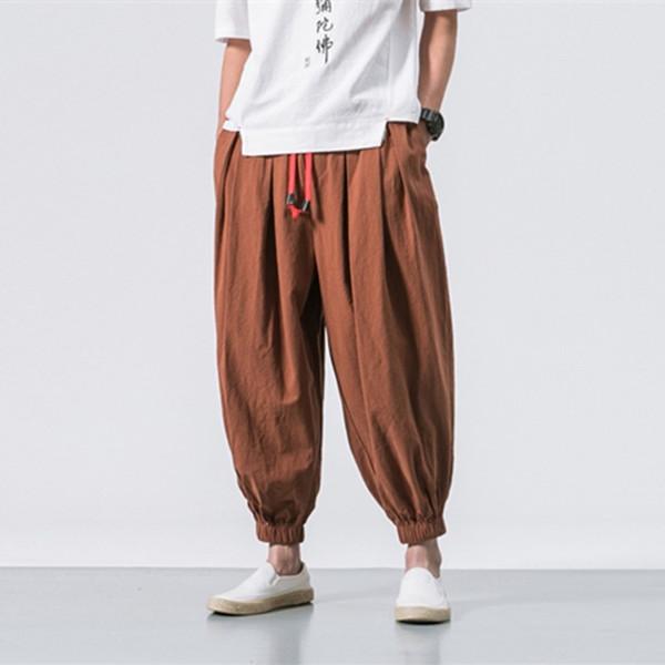 Hombres de moda pantalones Harem Primavera otoño Nueva para hombre de algodón Pantalones de lino Estilo chino Beam suelta pantalones de hip hop más el tamaño 5XL