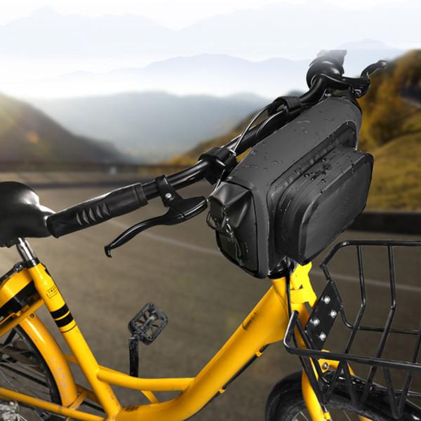 8 İnç Pannier Açık Suya Fermuar Evrensel Dayanıklı Bisiklet Ön Çanta Ayarlanabilir Kayış Bisiklet Büyük Kapasite PVC Wear