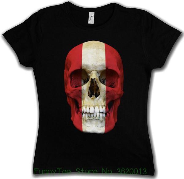 Tee-shirt Femme Tee shirt Classique Autriche Skull Flag Femme Fille - Bannière Fahne? Sterreich Biker Mc Design T-shirt Nouveautés